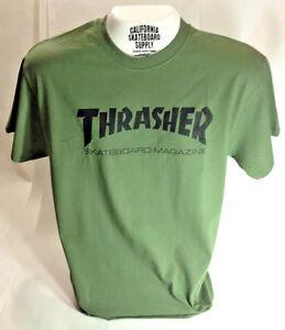 THRASHER-SKATE-MAG-brand-new-short-sleeve-t-shirt-FOREST-GREEN