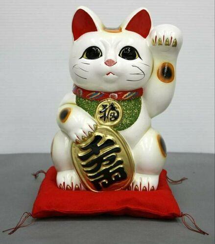 japan Lucky Cat (Maneki Neko) with cushion a mascot that brings good luck  F/S