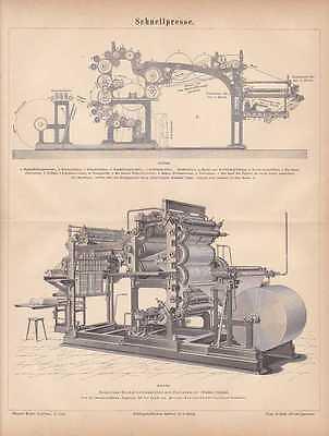 Schnellpressen Druckmaschinen STICH von 1878 Rotationsmaschine Buchdruckmaschine