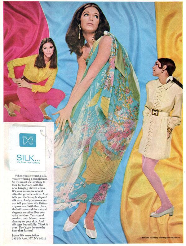 Japan Silk Association Bergdorf Goodman Dresses 1960s Fashion Magazine Print Ad