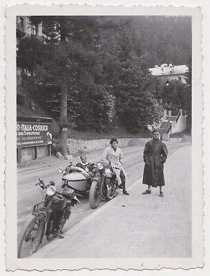 Echtes Original 1930er J. Schnappschuss Motorrad, Beiwagen