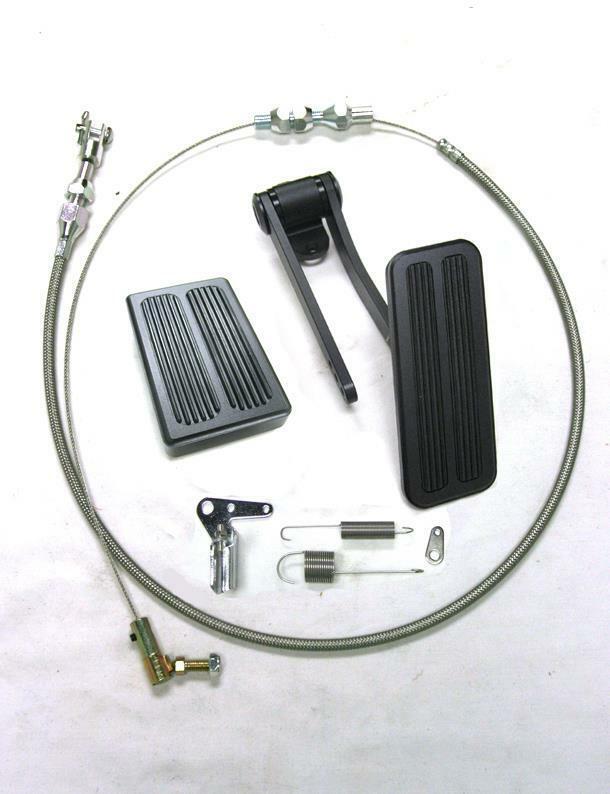 """BLACK Aluminum Gas Pedal Brake Pad Kit 24"""" SS Throttle Cable Bracket Spring Set"""
