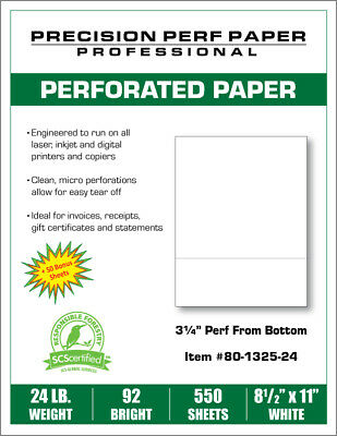 Perforated Paper - 8.5 X 11 With 3 14 Perf - 550 Sheets - 24 Lb