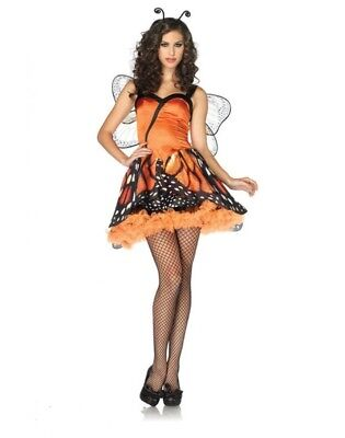 LA-83817 Costume da Farfalla Vestito Vaporoso Arancione e Nero con Stampa Ali