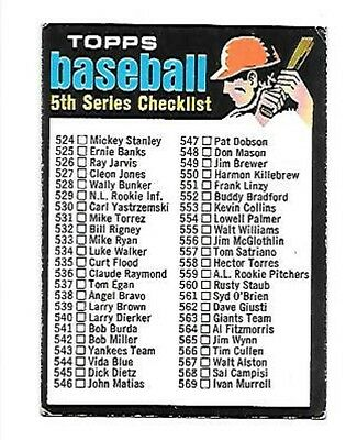1971 TOPPS 5TH SERIES CHECKLIST #499  EX CLEAN UNMARKED FREE COMBINED S/H