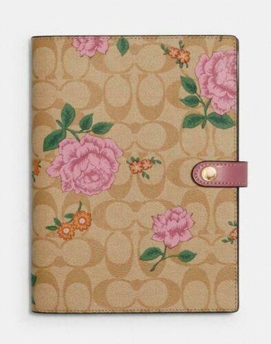 NEW COACH NOTEBOOK Signature Canvas Prairie Rose Print NWT