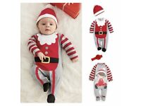 First Christmas Newborn Baby Girls Boy Romper Bodysuit Outfits Christmas Gift PT