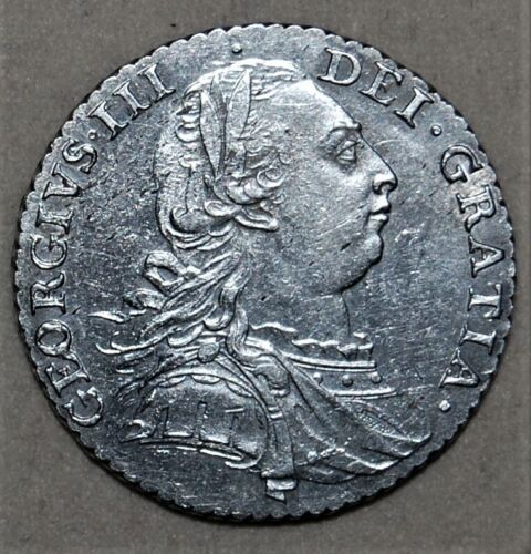 1787 GREAT BRITAIN SILVER SHILLING - GEORGE III - NO HEARTS - XF CONDITION