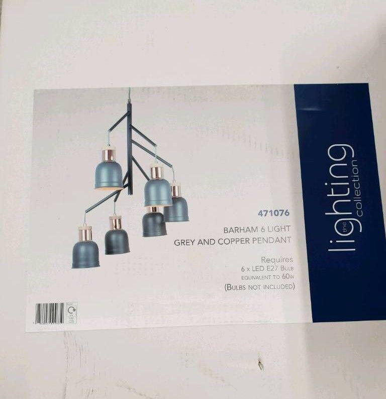 2f0e0b200c4d Brand new Barham 6 Light Pendant Light - Matt Grey and Copper | in ...