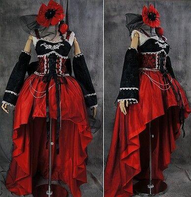 a-222 GOTHIC LOLITA Vampir Cosplay Kostüm Luxus Glitzer Rot Schwarz - Vampir Rot Kleid Kostüm