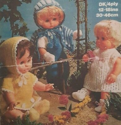 Vintage Knitting Pattern - BABY DOLLS CLOTHES - 12-18 inch