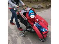 Double city mini jogger buggy. Red and black
