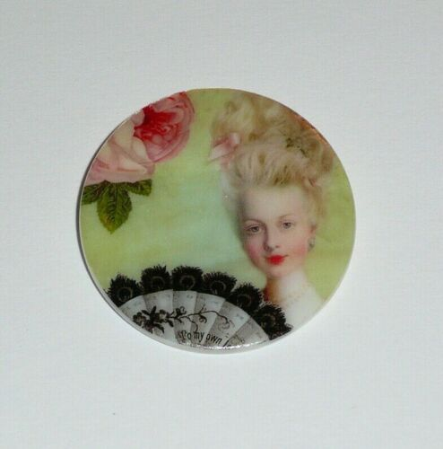 """Marie Antoinette w/ Fan & Flowers - Mother of Pearl Shank Button 1+3/8"""""""