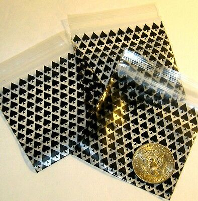 100 Black Spades Baggies 3 X 3 Mini Ziplock Bags Apple Brand Reclosable
