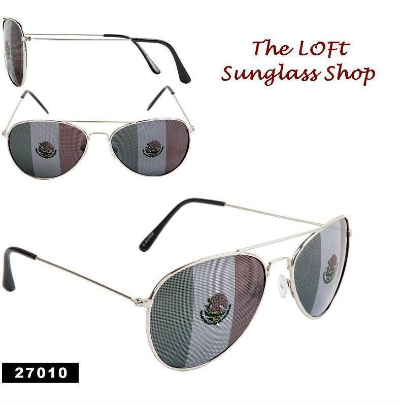 Mexican Flag Summer Aviator Style Patriotic Sunglasses El Cinco De Mayo!  27010