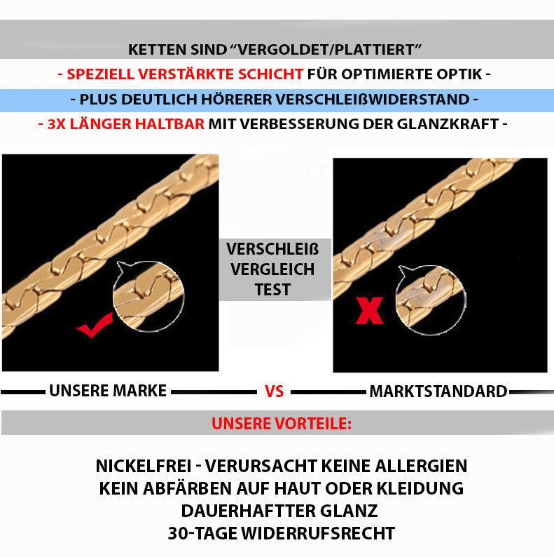 Goldkette Armkette vergoldet 21cm 4MM Panzerkette Kette Arm für Herren Damen GA9