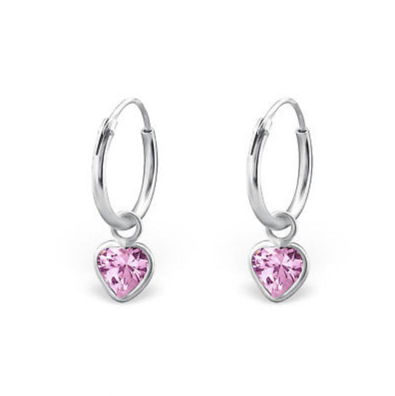 Jewellery - 925 Sterling Silver Pink Crystal 4mm Heart Sleeper Hoop Earrings Kids Girls