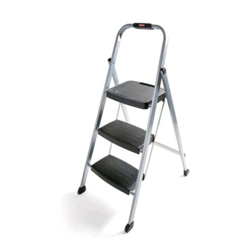 3 Step Ladder Stool Folding Light Weight Heavy Duty With Han
