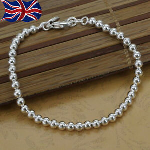 925 Sterling Silver plated Bracelet Ball Bead 4mm Shiny 8