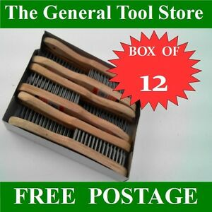 BOX-OF-12-WIRE-BRUSHES-3-ROW-WIRE-BRISTLES-LYNWOOD-PRODUCTS-QUALITY-BRUSHES
