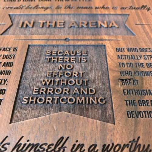 Man in the Arena by Theodore Roosevelt Engraved Plaque_Walnut