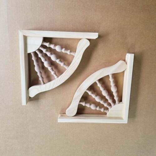 10.5 x 10.5 INCH- PAIR- Unfinished Pine Shelving Brackets- Farmhouse Style  (x2)