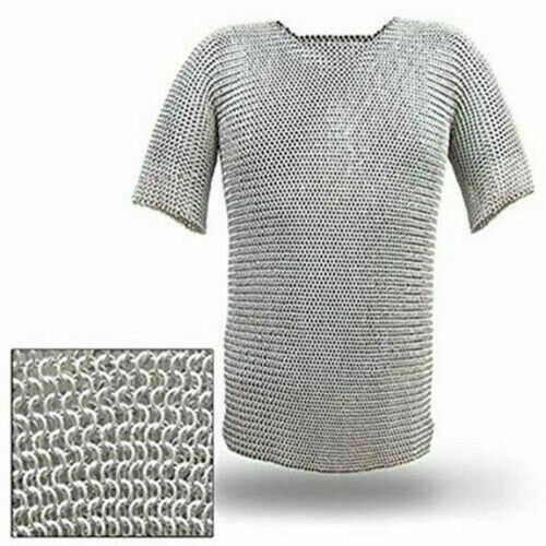 Medieval Stainless Steel Chainmail Shirt FLAT RIVETED Chain mail Aubergine  PRO