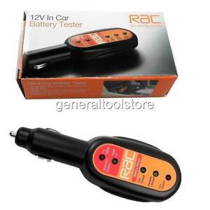 RAC CAR BATTERY AND ALTERNATOR TESTER 12 V 12 VOLT FITS INTO CIGARETTE SOCKET