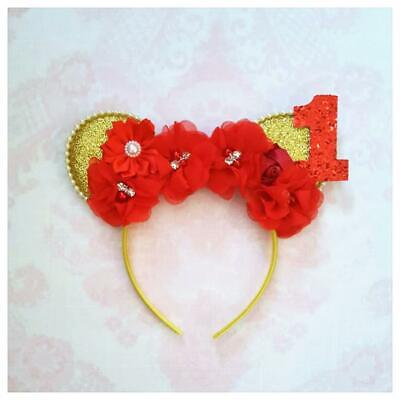 Minnie Mouse Ears Headband Baby Girls 1st 2nd 3rd Birthday Cake Smash - Baby Mouse Ears