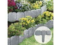 Plastic cobbled stone effect garden lawn edging