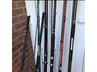 job lot clearout 7x fishing rods great for beginners