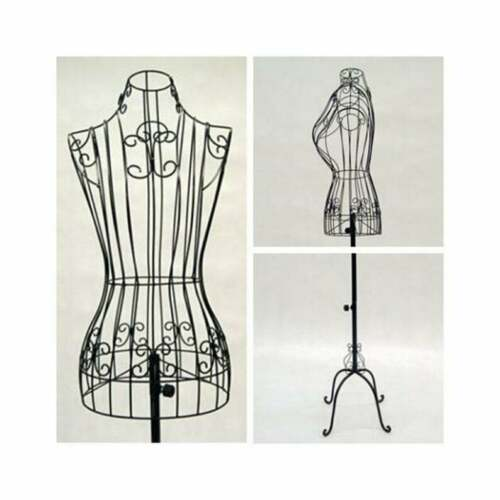 Female Adult Metal Wire Black Dress Form with Adjustable Antique Base