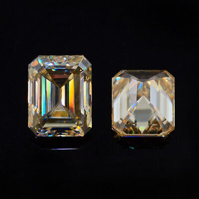 0.98 CT To 4.36 CT Champagne Color Moissanite Diamond Emerald Cut Best For