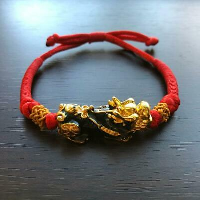 Chinese Pixiu-changing color- Wealth Son of Dragon Good luck Red String bracelet ()