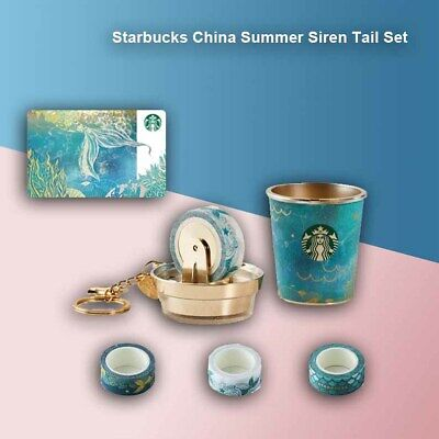 Starbucks Summer Siren Tail Tape Keychain 2019 China Card Pin intact Set
