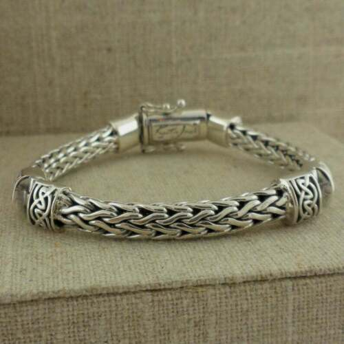 """Sterling Silver Dragon Weave Bracelet with Celtic Hinges Keith Jack Jewelry 7"""""""