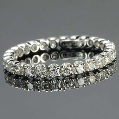 Full Eternity Band Engagement Wedding Promise Ring 3.1Ct Diamond 14k White Gold