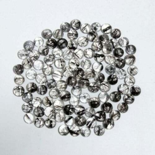 Wholesale Lot 100% Natural Black Rutile Quartz Cabochon Round Shape Gemstone