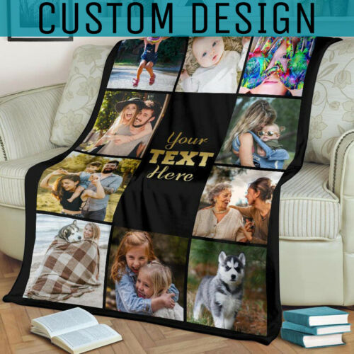 Personalized Custom Fleece Blanket With Photo - Family Picture Memorial Blanket