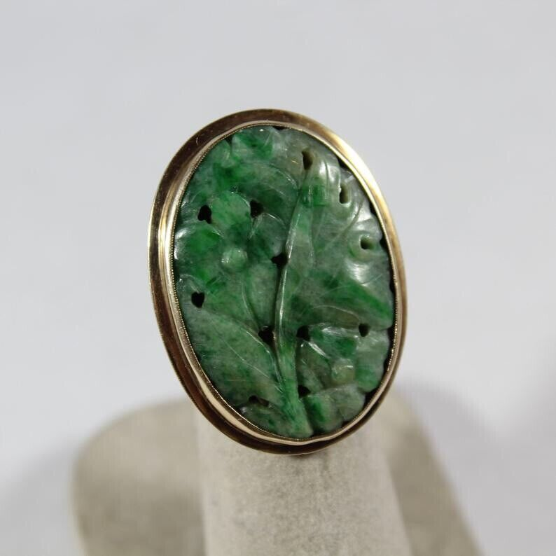 Antique Chinese 10k Gold Carved Flower Jadeite Ring 3.5US