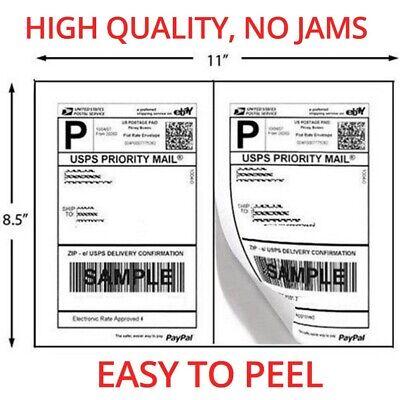 1000 Shipping Labels 8.5x5.5 Half Sheets Self Adhesive 2 Per Sheet