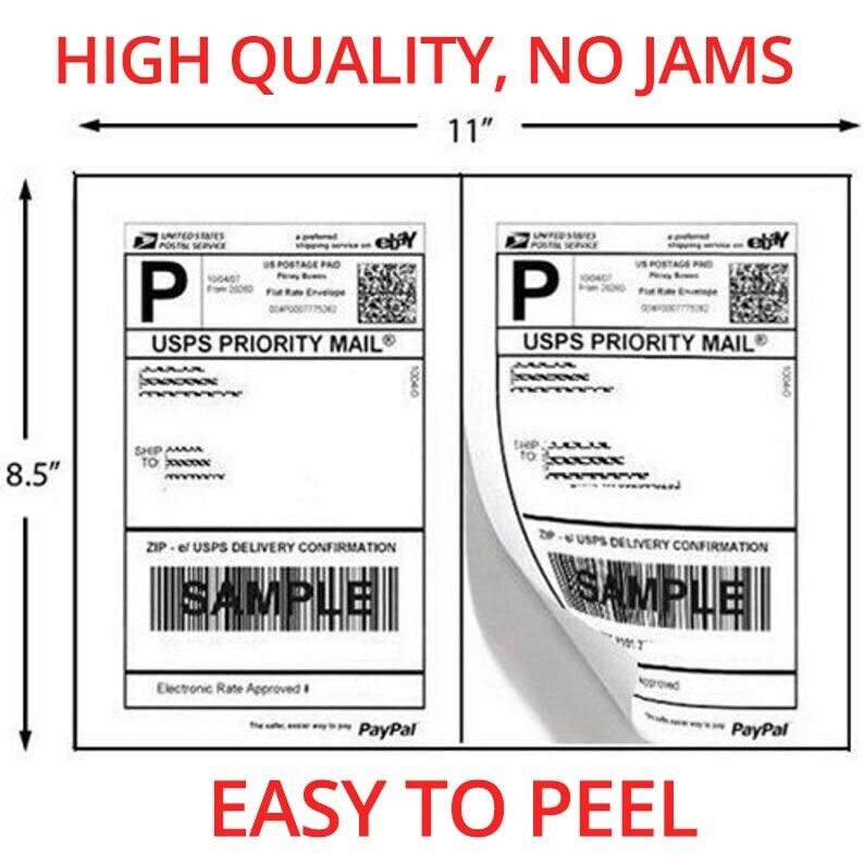 1000 Shipping Labels 8.5x5.5 Half Sheets Self Adhesive 2 Per Sheet