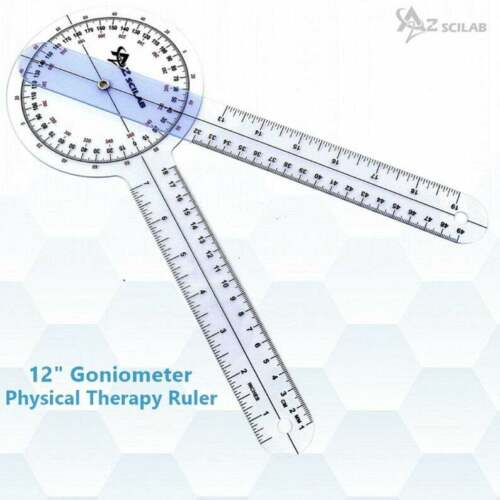 LARGE SPINAL PLASTIC GONIOMETER PROTRACTOR RULER 360 DEGREE 12 inch