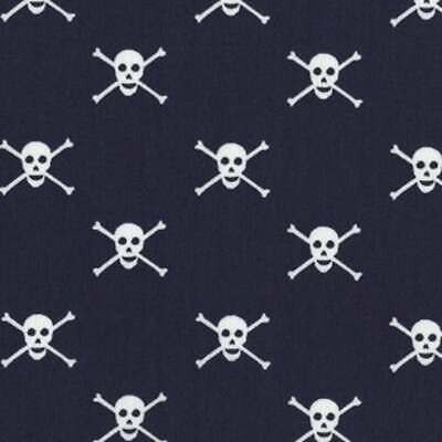 Seaworthy Jolly Roger Prirates Scull Navy by Jack and LuLu Per Half Metre 50cm