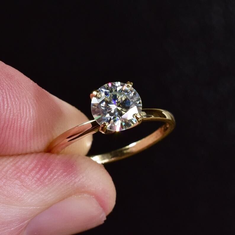 1.5Ct Round cut Diamond 14K Yellow Gold Over Engagement Vintage Women's Ring