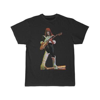 ACE FREHLEY of KISS Vintage Reprinted Black Unisex Cotton T-Shirt S-2XL TT125