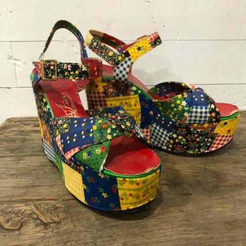 Vintage 70s Platforms Wedge Shoes Sandals Patchwork Flower Floral Hippie SIZE 9
