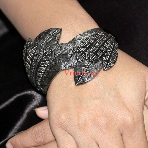 Natural Rosecut Diamond 925 Silver Vintage Gorgeous Feather Bangle Jewelry