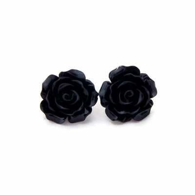 Large Black Rose Earrings, Retro Resin Flower Studs, Vintage Style Floral Posts Rose Earring Posts