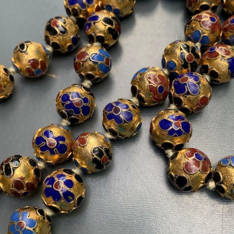 Vintage ChineseCloisonne Enamel bead beaded Hand Knotted Necklace